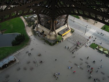 Looking down on the east piler of the Eiffel Tower