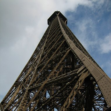 Looking up the Eiffel Tower from the second floor