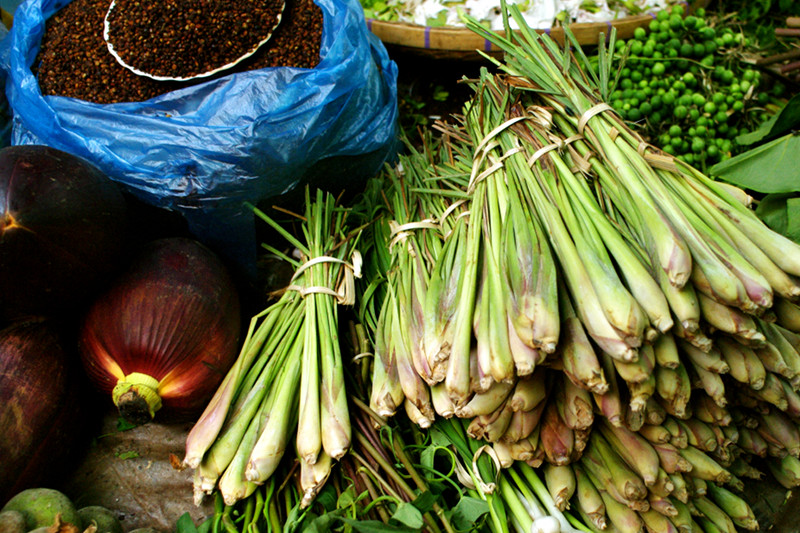 Lemongrass bundles at the market in Luang Prabang, Laos