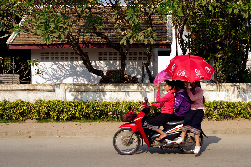 Riding a scooter with an umbrella in Luang Prabang, Laos