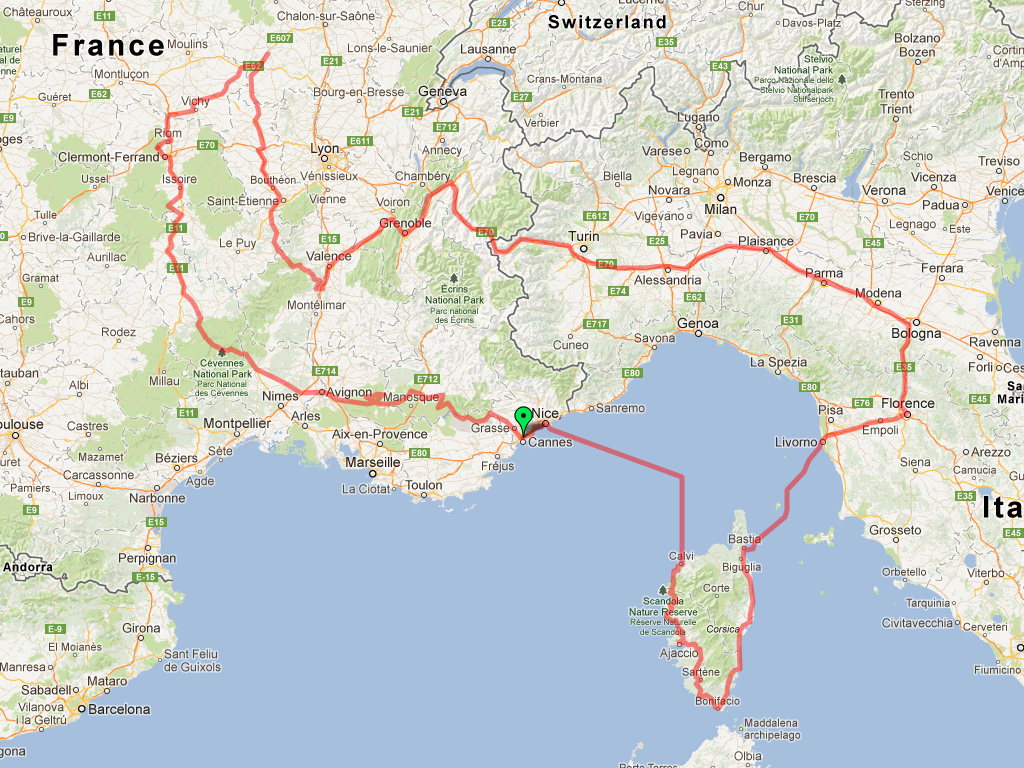 Map of our route around Corsica, Italy, and France