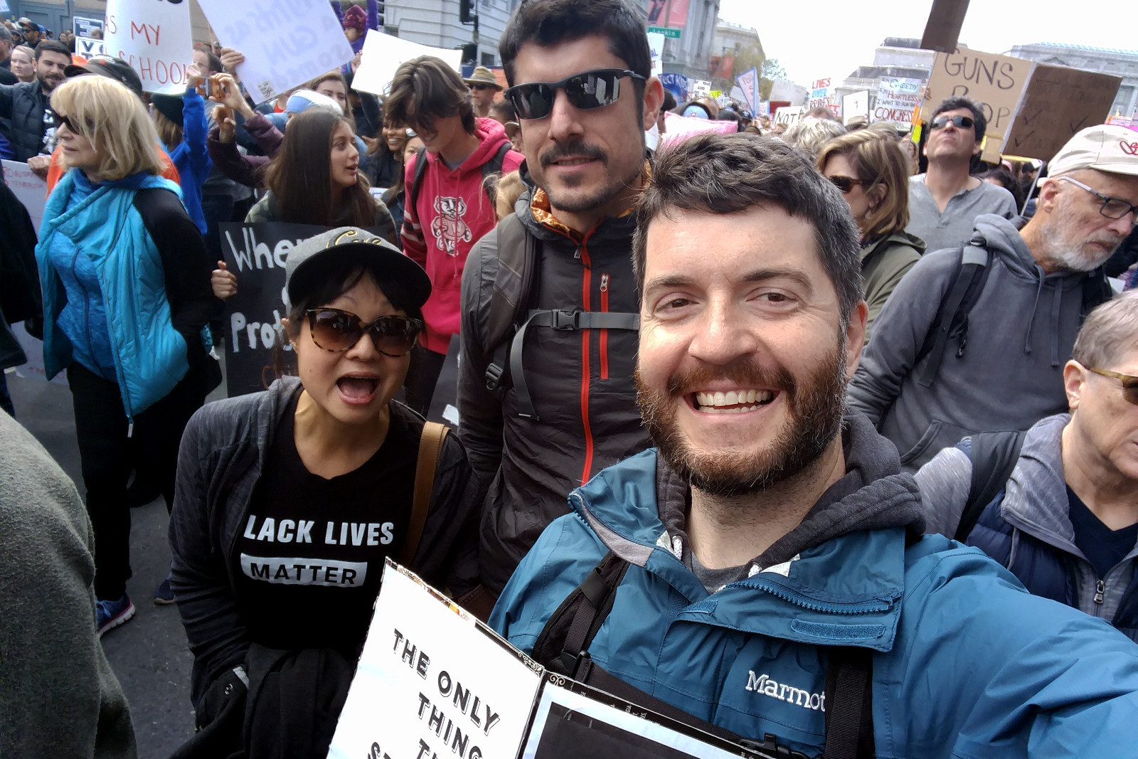 Claudine, Danny, and Justin at the March for our Lives in San Francisco, CA