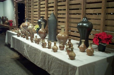 the large pots in the back are north carolina grave markers