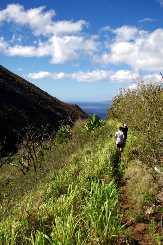 Hiking down from the West Maui Mountains