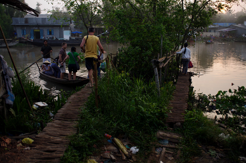 Docks for the canoe ferries that cross a branch of the Mekong Delta