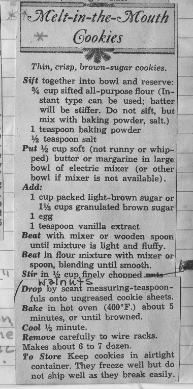 My grandmother's copy of the Melt-in-the-Mouth Cookies recipe