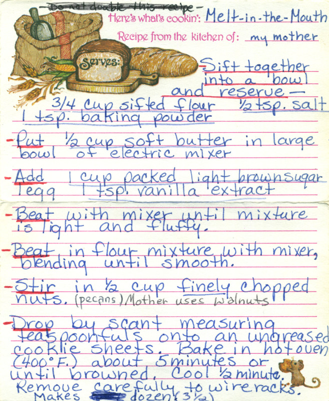 My mom's copy of the Melt-in-the-Mouth Cookies recipe