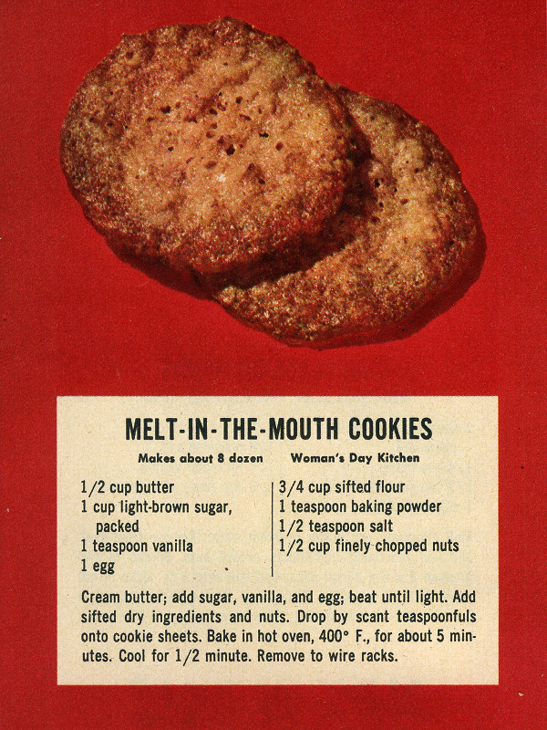 Melt-in-the-Mouth Cookies recipe from Woman's Day December 1953