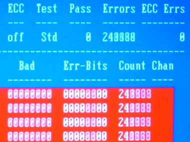 memtest86+ accumulating a blur of errors