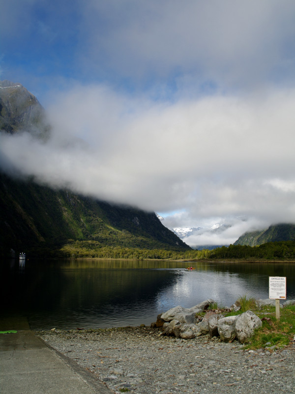 Deepwater Basin in Milford Sound, our kayaking launch spot