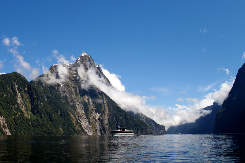 Looking down Milford Sound with a nice view of Mitre Peak and a cruise boat