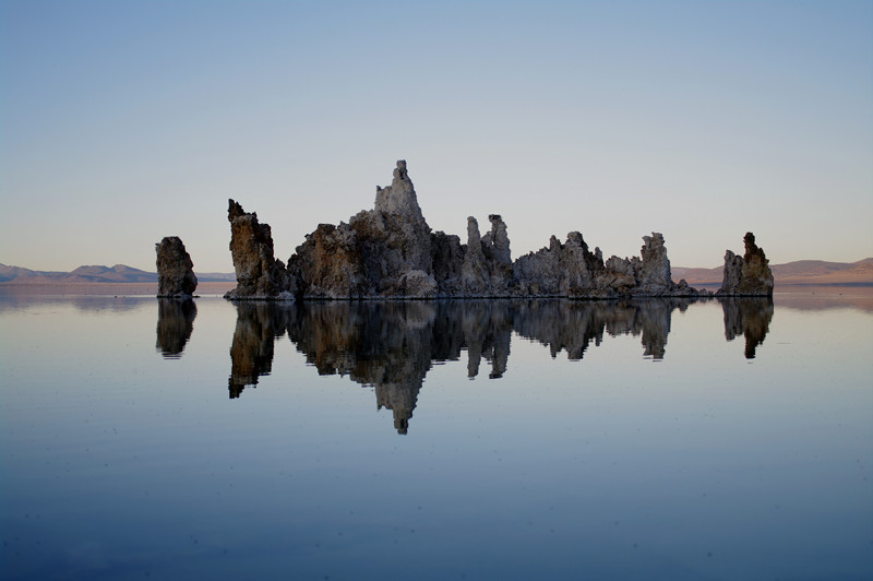 Tufa island in Mono Lake at dusk