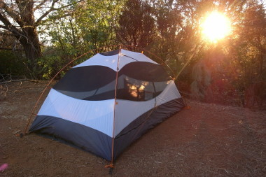 The sun setting on our tent