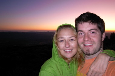 Stephanie and Justin, in front of the sunset on Mount Diablo