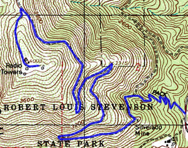 Mt. St. Helena Topographic Trail Map