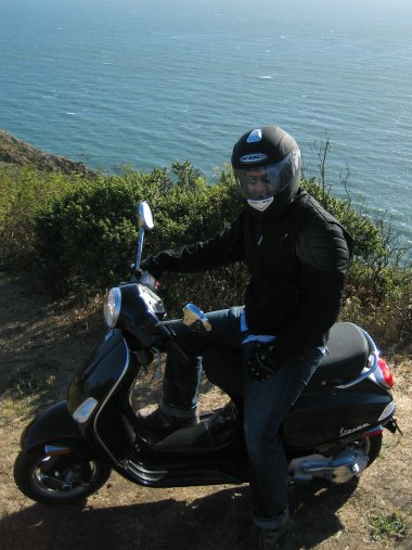 Justin on his Vespa at Muir Beach Overlook