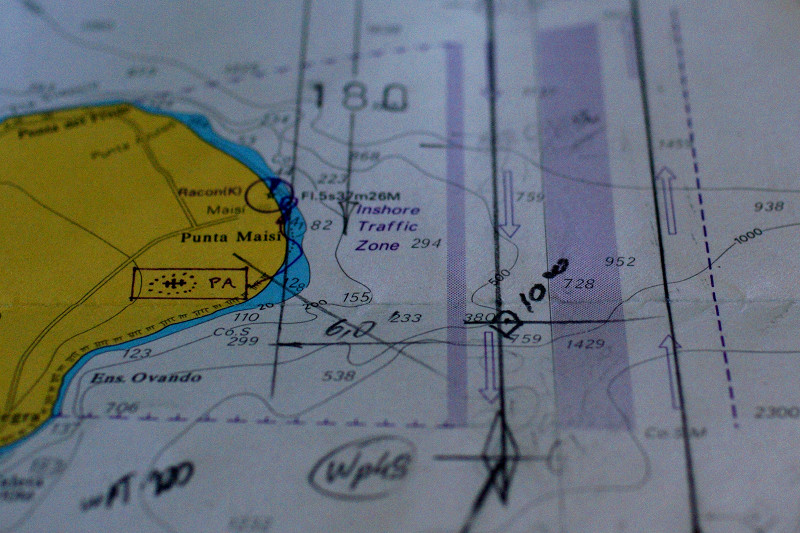 Nautical chart showing the traffic lanes east of Punta Maisi, Cuba
