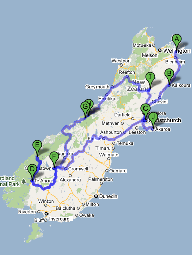 Map of our road trip around the South Island of New Zealand