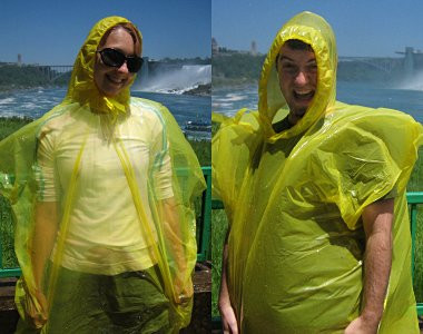 Justin and Stephanie wearing yellow plastic bags (mistcoats) trying to stay dry at Niagara Falls
