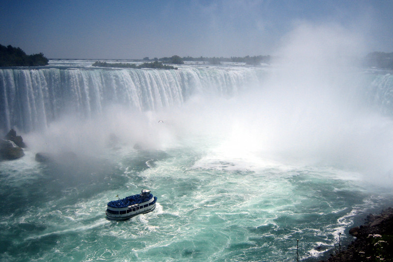 The Maid of the Mist approaches the base of Niagara Falls