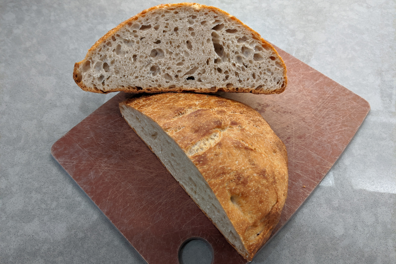 Cross-section of a loaf of no-knead bread