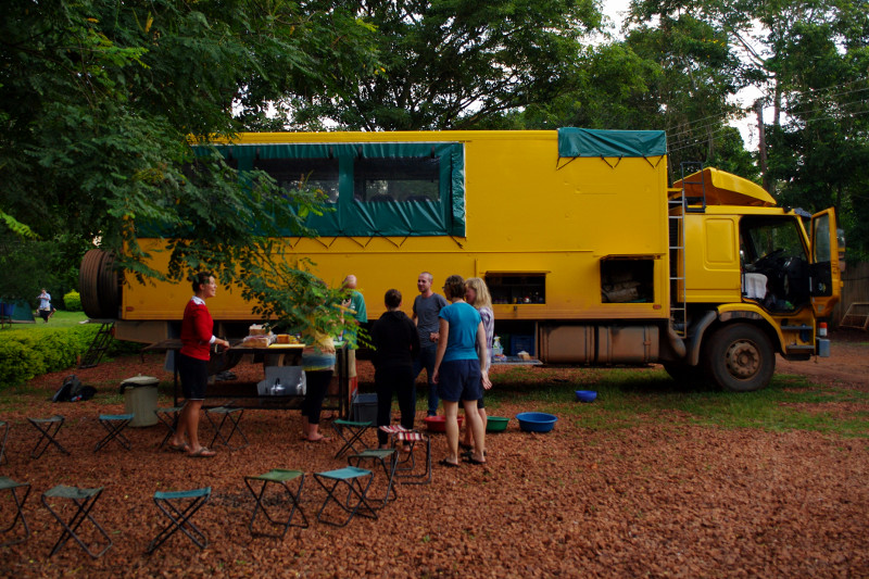 Preparing for breakfast outside out Oasis Overland truck