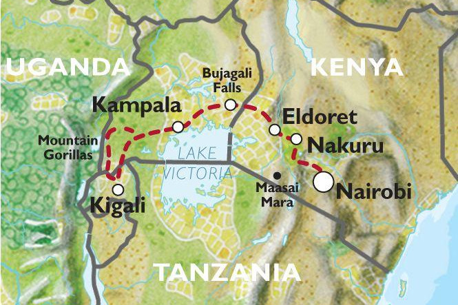 Map of the Oasis Overland Gorillas and Gameparks route