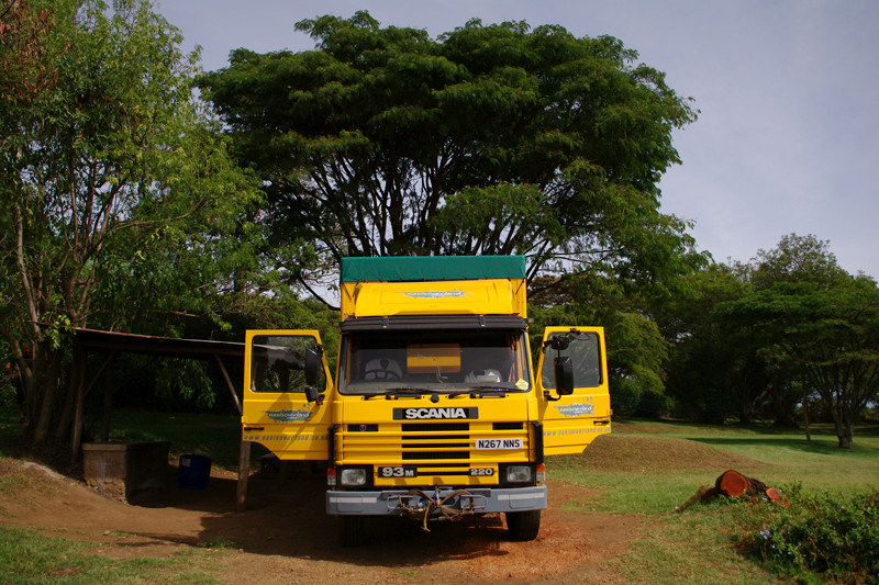 Oasis Overland truck parked at Kembu Campground near Lake Nakuru, Kenya
