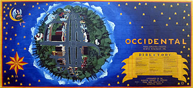 Mural map of downtown Occidental, California