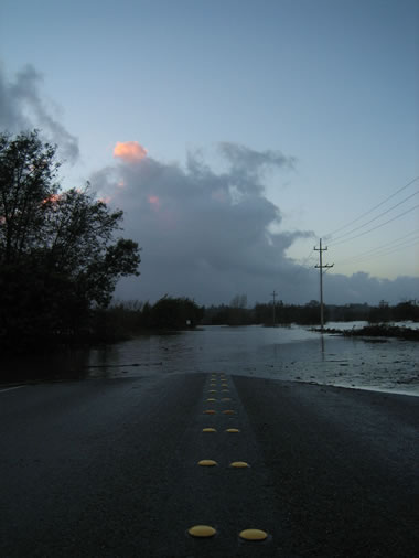 Occidental Road flooded by the Laguna de Santa Rosa