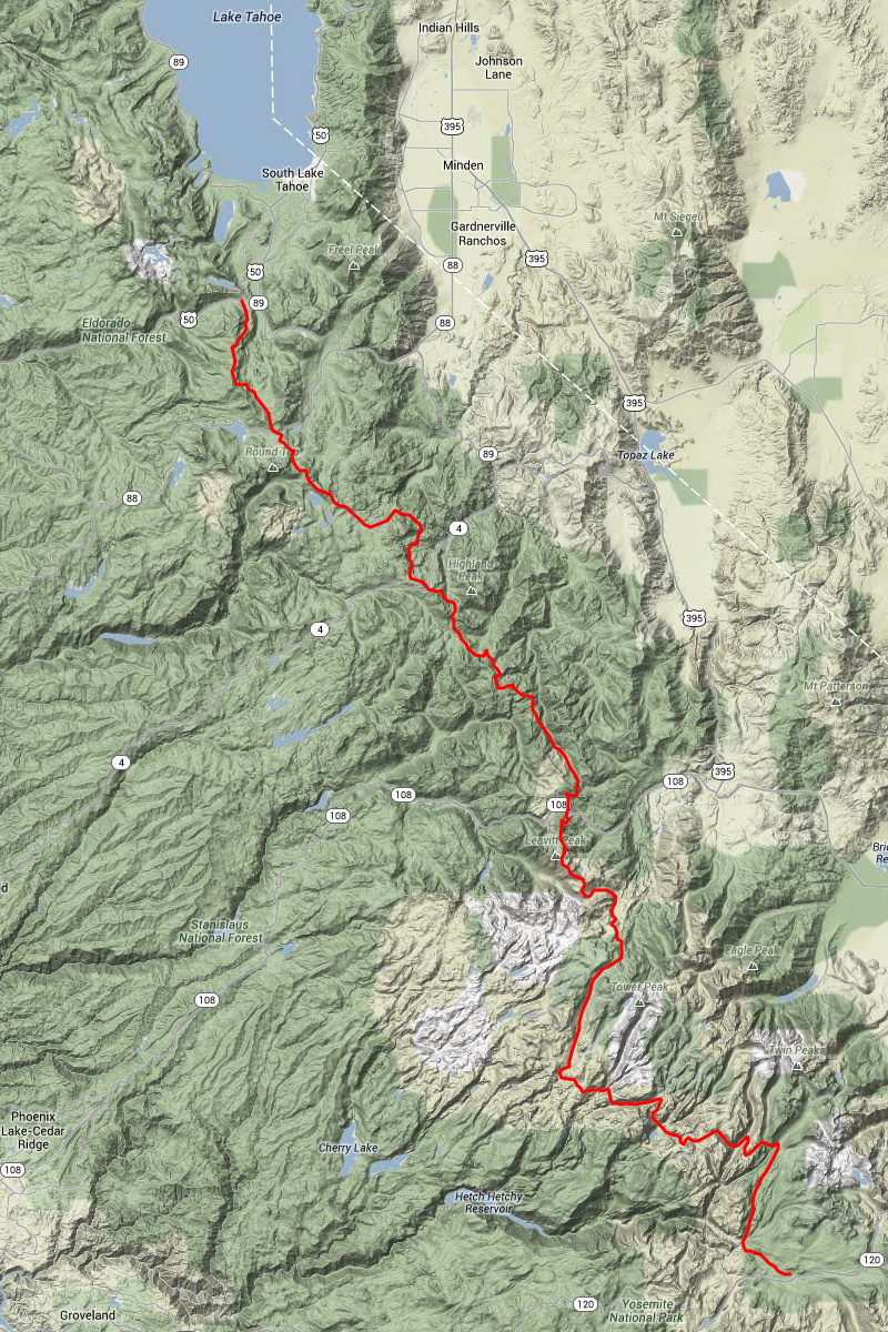Map of the Pacific Crest Trail from Tuolumne Meadows in Yosemite National Park to Echo Lake in Desolation Wilderness