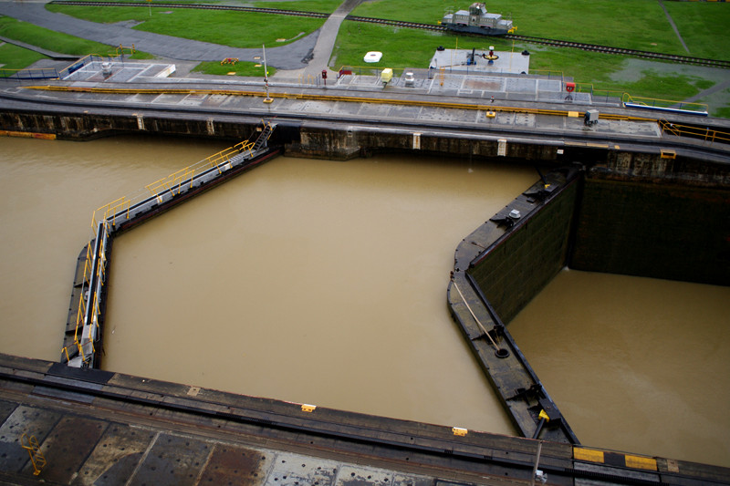 Overhead view of the Pedro Miguel Locks of the Panama Canal