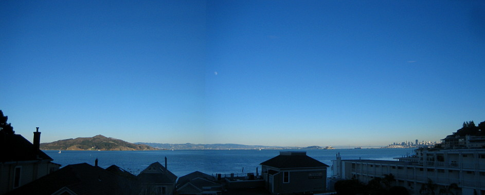 The panoramic view from my desk, in Sausalito, CA