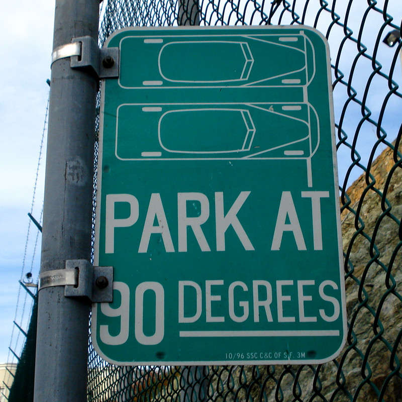 Park at 90 degrees sign