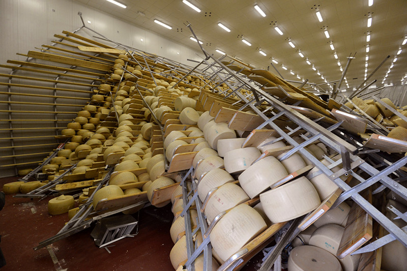 Parmigiano-Reggiano cheese (aka Parmesan) toppled in the 2012 Emilia earthquake