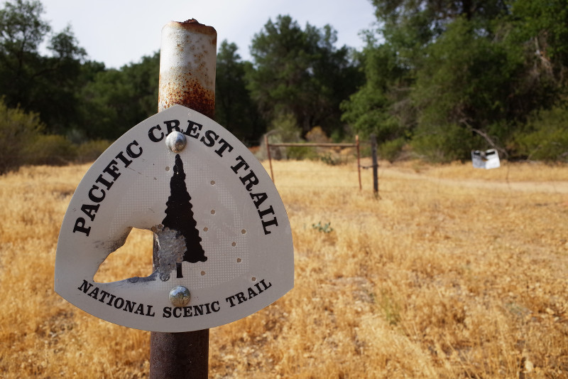 Southbound trail marker where the PCT crosses California County Route S22