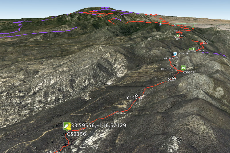 Mile 156 of the PCT on Google Earth