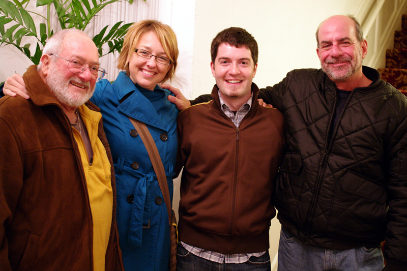 Stephanie and Justin (center) with her Great/Half Uncle Peter (left) and his partner Steve (right)