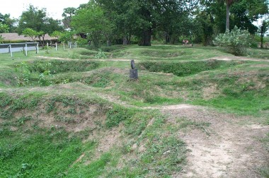A few of almost 60 excavated burial sites at the killing fields