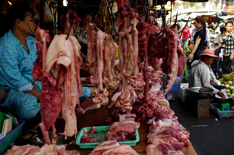 Meat for sale at market in Phnom Penh, Cambodia