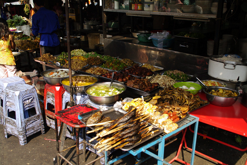 Prepared food for sale at market in Phnom Penh, Cambodia
