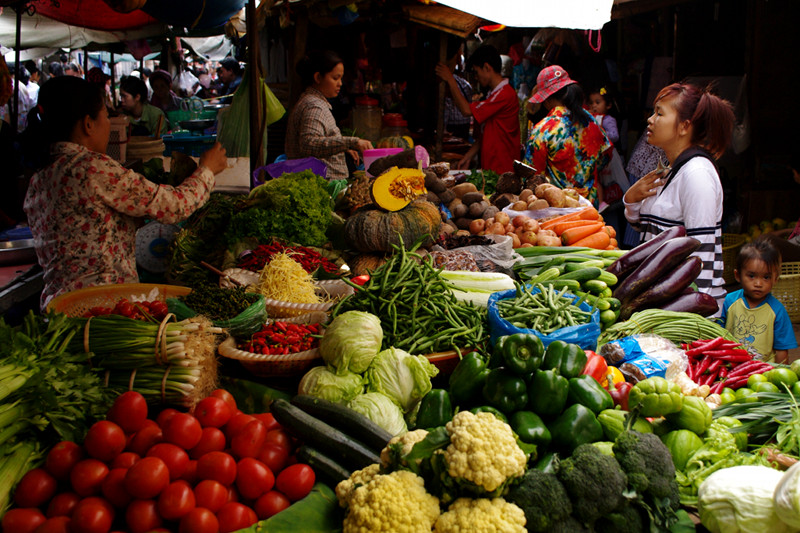 Vegetable for sale at market in Phnom Penh, Cambodia