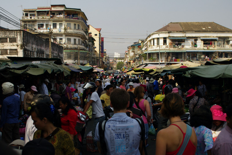 View of a market in Phnom Penh, Cambodia