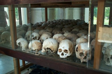 one row in the stupa filled with skulls