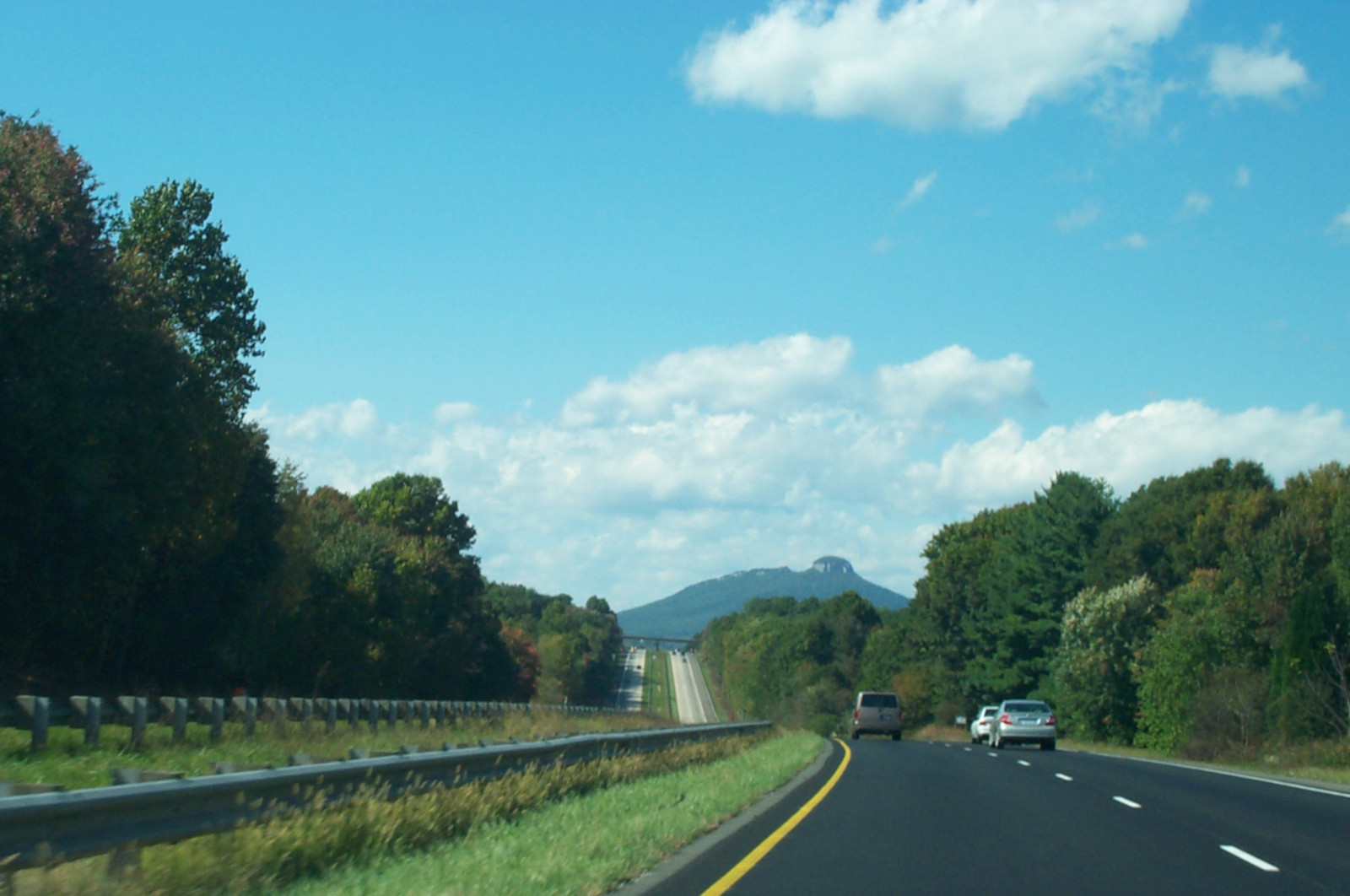 approaching pilot mountain from US-52