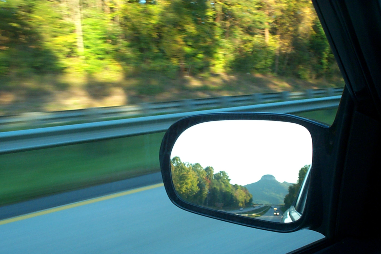 picture of pilot mountain in my rear view mirror