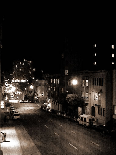Pine Street at night