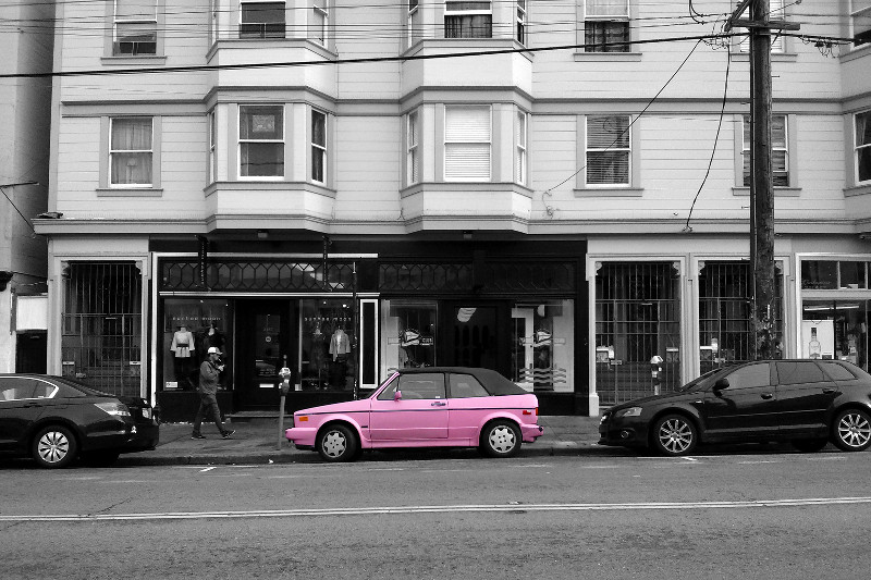 Pink VW Golf Cabriolet in San Francisco's Mission neighborhood