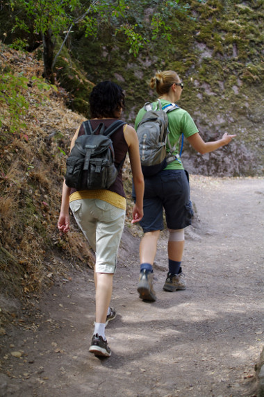 Marcia and Stephanie hiking