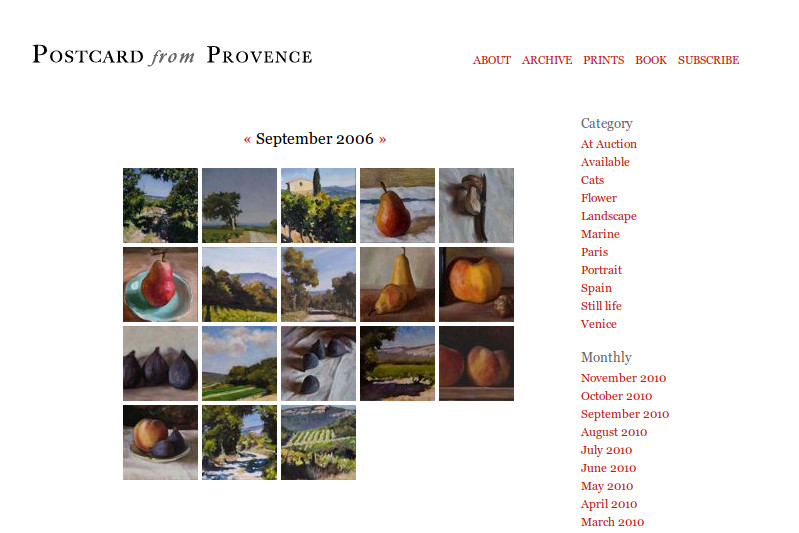 Screenshot of Postcard from Provence blog